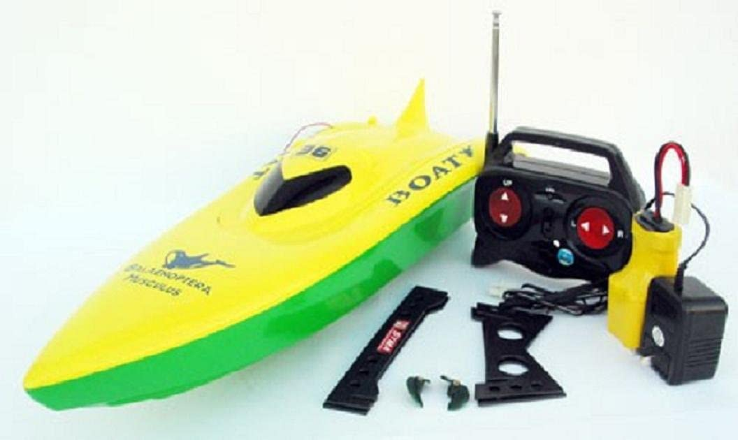 """RC REMOTE CONTROL 23/"""" Balaenoptera Musculus Racing Boat Green-Yellow NEW"""