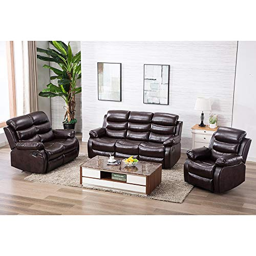 Hommoo Recliner Sofa Living Room Set Reclining Couch Sofa Chair Leather Loveseat 3 Seater Home Theater Seating Manual Recliner Motion for Home - Leather Recliner Motion Home Theater