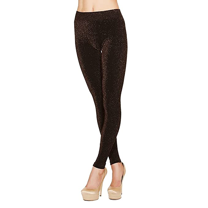 24a8de3435912 Just One Women's Warm Full-Length Seamless Gold Shiny Stretch Leggings (Gold  Lurex,