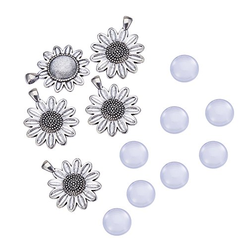 NBEADS 10 Sets Alloy Pendant Cabochon, Sun Flower Pendant Blanks Trays Bezel Settings and Clear Glass Cabochons for Cameo Pendants, Photo Jewelry, Necklace and Crafts