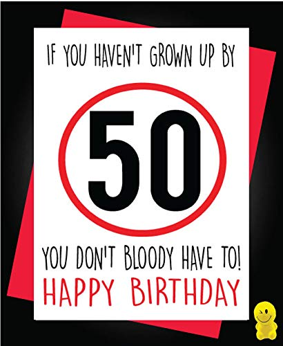 Tarjeta de 50 cumpleaños con texto en inglés