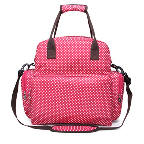 iSuperb® Bebé Pañales mochila nailon Mummy Momi organizador bolsa bolso de hombro bolso de mano bolsa de viaje resistente al agua con cubo maletero 34x 12x 34cm rojo rosa (b) rosa (b)
