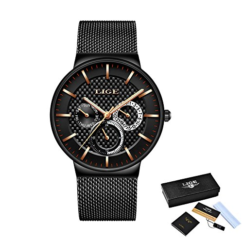 Watches-for-MenLIGE-Stainless-Steel-Waterproof-Sports-Analog-Quartz-Watch-Date-Display-Black-Dial-Gents-Business-Casual-Luxury-Dress-Wrist-Watch-Clock-with-Milanese-Mesh-Band-Gold-Black