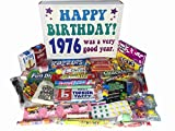 1976 41st Birthday Gift Box is filled with: Atomic Fireballs, Bonomo Turkish Taffy, Dots, Chuckles, Good and Plenty, Red Hots, Boston Baked Beans, Pop Rocks, Razzles, Abba Zaba, Fun Dip, Mint Juleps, Pixy Stix, Candy Necklace, Sugar Daddy Jr,...