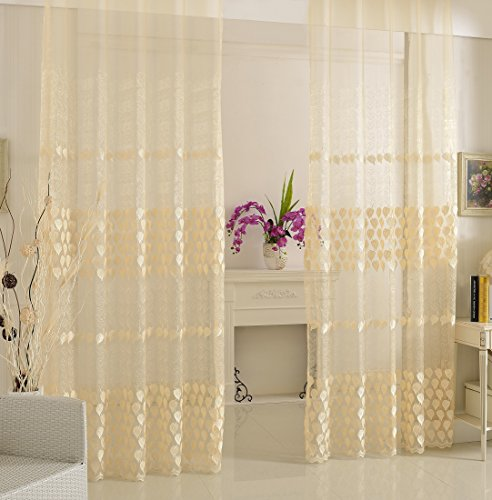 (ABCWOO Sheer Curtains Leaf Embroidered Drapes Design Rod Pocket Top Gauze Window Curtain Panels Treatments for Living Room Bedroom(1 Panel, W 50 x L 95 inch, White) -X0828C1FFDWH85095-8508 )