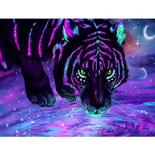UPMALL DIY 5D Diamond Painting by Number Kits, Full Drill Crystal Rhinestone Embroidery Pictures Arts Craft for Home Wall Decoration Purple Tiger 15.75×11.81 Inches ()