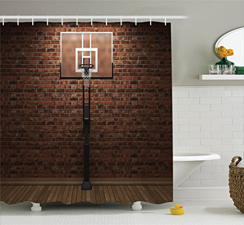 Ambesonne Sports Decor Shower Curtain Set, Old Brick Wall And Basketball Hoop Rim Indoor Training Exercising Stadium Picture Print, Bathroom Accessories, 69W X 70L Inches, Brown - College Basketball Rug