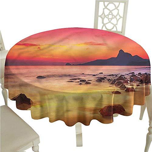 ScottDecor Circular Table Cover Ocean,Mystic Sunrise Over Sea Dinning Tabletop Decoration Round Tablecloth D -