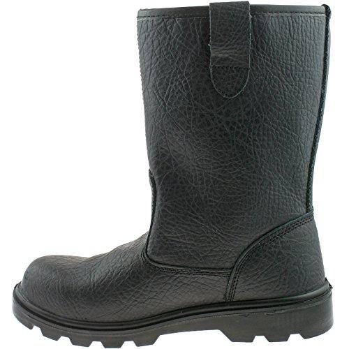 Grafters - Calzado de protección de cuero para hombre Black Leather