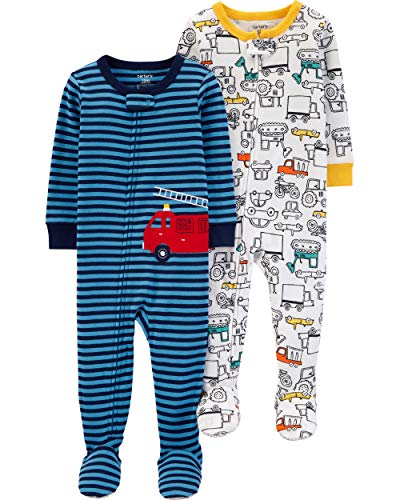 Carter's Boys' Toddler 2-Pack Cotton Footed Pajamas, Firetruck/Construction, 3T