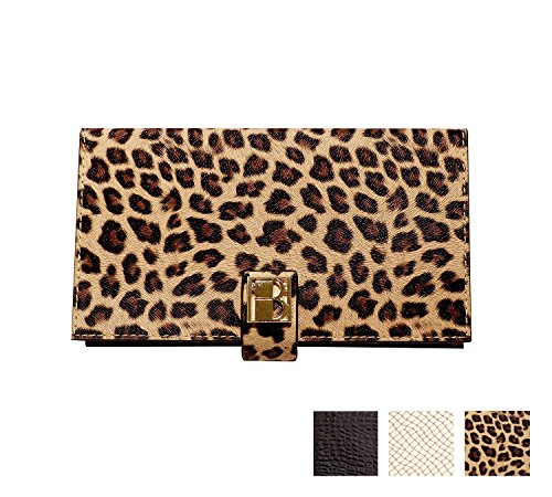 Wild Magnetic Makeup Clutch Handbag: Leopard Cosmetic Organizer with Mirror, Wallet, and Phone Case - Textured Vegan Leather, Silk Fabric Lining, Magnetic Base, Travel Accessory (Clutch Textured Wallet)