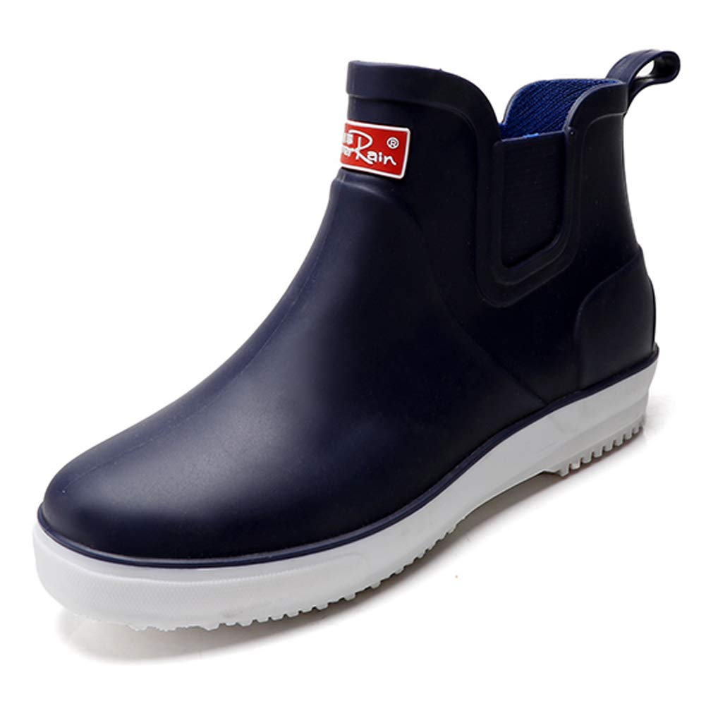fereshte Men's Slip-on Waterproof PVC Rain Boots Outdoor Washing Shoes Blue EU43