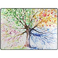 Cooper girl Watercolor Tree Area Rug Mat Carpet 68x410 for Living Room Bedroom Dining Room