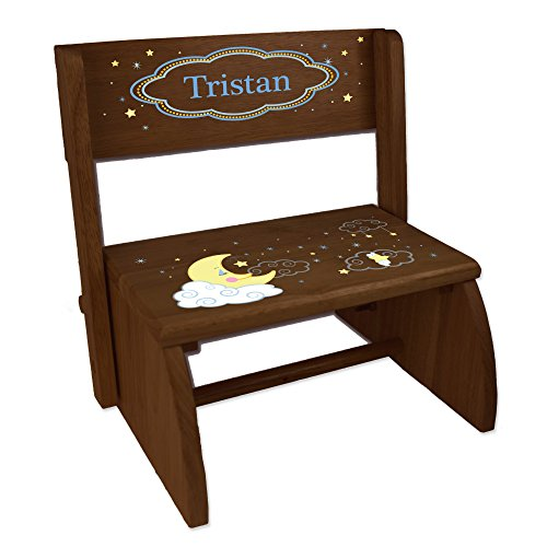 - Personalized Espresso Flip and Folding Step Stool with Moon and Stars Design