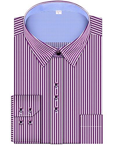 Purple Stripe Dress Shirt (Men's Regular Fit Stripe Brand Long Sleeve Dress Shirts (16.5