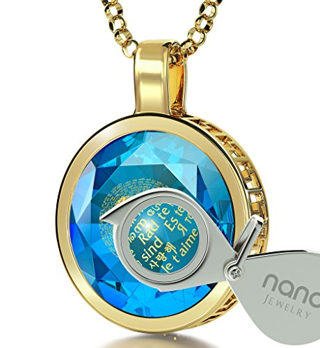 Gold Plated I Love You Necklace 24k Gold Inscribed in 120 Languages on Blue Cubic Zirconia Pendant, (Blue Cubic Zirconia Pendant)