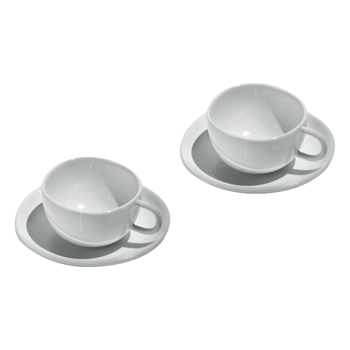 Officina Alessi Fruit Basket Mocha Cups and Saucers, Set of 2, White