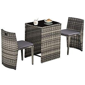 Outsunny Ensemble Salon de Jardin encastrable 3 pièces Plateau Table Verre trempé + Lot de 2 chaises Coussins résine…
