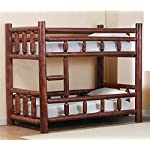 Chelsea Home Twin Over Twin Log Bunk Bed in Pecan