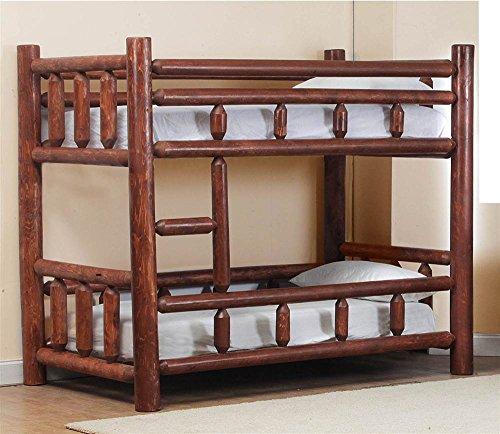 Twin Over Twin Log Bunk Bed in Pecan - Pec Pecan