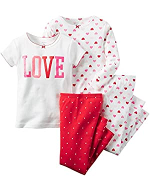 Carters Baby Clothing Outfit Girls 4-Piece Snug Fit Cotton PJs Love Hearts