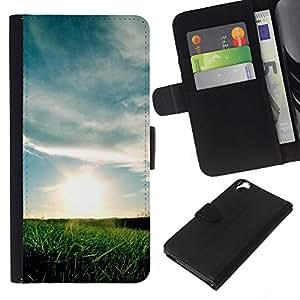KLONGSHOP // Tirón de la caja Cartera de cuero con ranuras para tarjetas - Naturaleza Sunset campos - HTC Desire 820 //