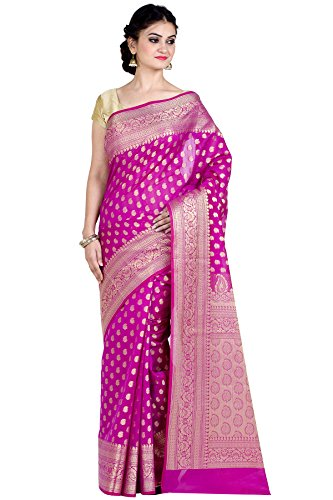 Saree Magenta - Chandrakala Women's Rani Cotton Silk Blend Banarasi Saree,Free Size(8890)