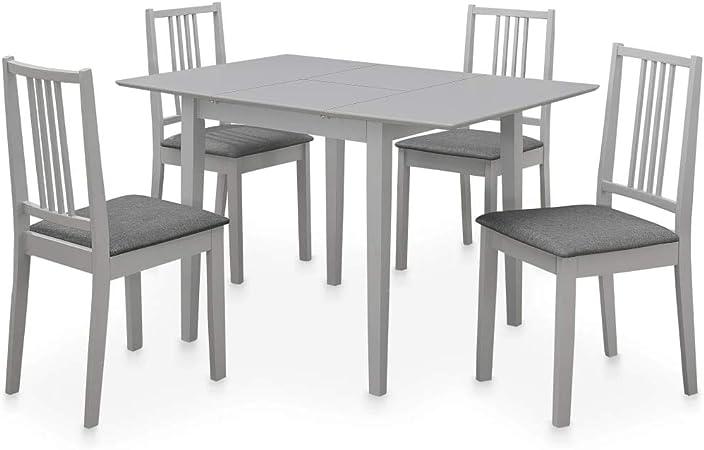 vidaXL Conjunto de Muebles de Comedor Set de Salón Juego de Mesa y Sillas de Cocina Mobiliario de Hogar Casa 5 Piezas Material MDF Gris: Amazon.es: Hogar