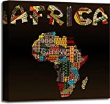 Africa map with African typography made of patchwork fabric texture Gallery Wrapped Canvas Art (20in. x 20in.)