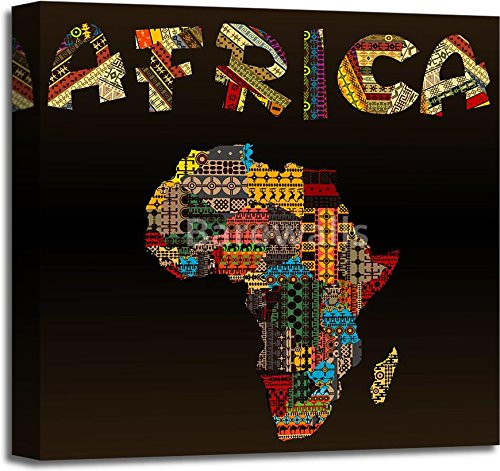 Africa map with African typography made of patchwork fabric texture Gallery Wrapped Canvas Art (20in. x 20in.) by barewalls