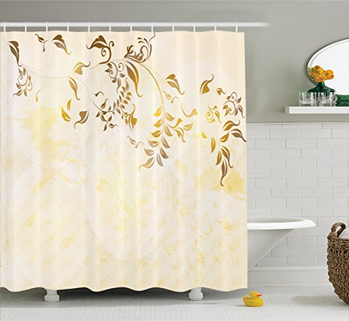 Beige Decor Shower Curtain Set By Ambesonne Antique Classic Backdrop With Curving Branch Nostalgic Vintage Silhouettes Artwork Bathroom Accessories