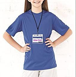 Name tag with Lanyard Swivel J-Hook Clip Kids Name Label School Camp Field Trip Church Business Event Trade Show Conference Badge Holder Waterproof Plastic ID Card Holder Name Tags 60 Black Horizontal