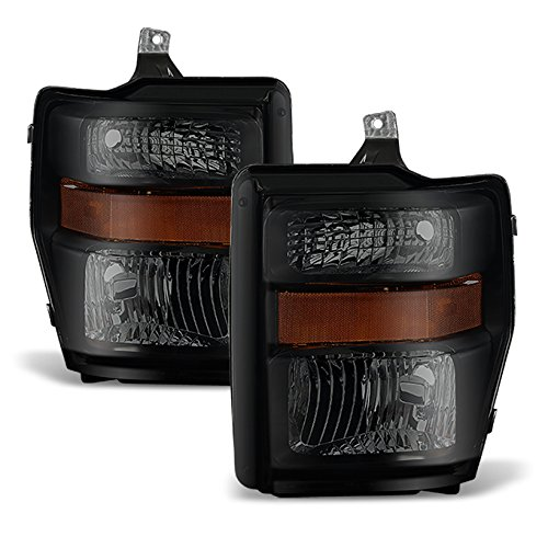Black Smoke 08-10 Ford F250/350/450/550 Superduty Pickup Truck Headlights Lamps Direct Replacement