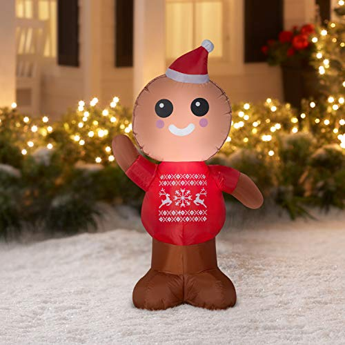 Gemmy Industries Airblown Inflatable Gingerbread Man 4 Feet Tall ()