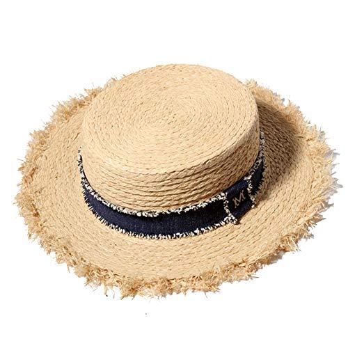 (BOWINUS Flat Straw Hats for Men Summer Natural Raffia Panama Hat Women Large Brim Beach Caps)