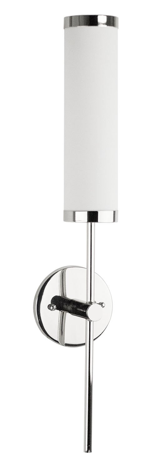 """Presto 1 Light Bathroom Vanity Fixture - Chrome - Linea di Liara LL-WL111 - DIMENSIONS - 24"""" high x 4-5/8"""" wide and extends 4-3/4"""" from the wall CONTEMPORARY DESIGN - polished chrome with white frosted acrylic shade BULB TYPE - uses one 13-watt maximum GU-24 CFL or LED bulb (not included) - bathroom-lights, bathroom-fixtures-hardware, bathroom - 51pBkzYQhcL -"""