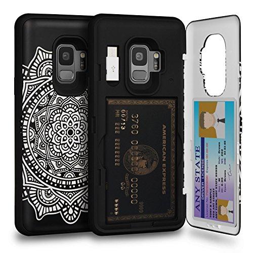 TORU CX PRO Galaxy S9 Wallet Case Pattern Mandala with Hidden Credit Card Holder ID Slot Hard Cover, Mirror & USB Adapter for Samsung Galaxy S9 - Dreamcatcher