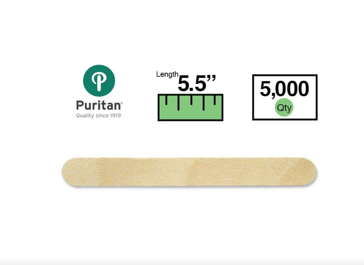 Puritan 711-Brightwood Junior Economy Grade Tongue Depressor, Non-Sterile, 5-1/2 x 5/8'' (Case of 5000)