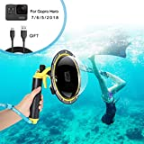 for GoPro Dome Port, Diving Case for GoPro Hero Black 5 6 7 2018 with Trigger Pistol and Floating Grip Cover, Telesin GoPro Waterproof Protective Dive Housing, Gopro Lens Hood Waterproof Case