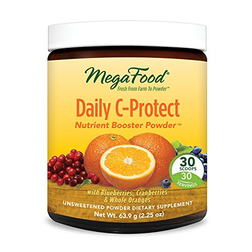 MegaFood - Daily C-Protect Booster Powder, Supports Immune Health and Well-Being with Organic Whole Oranges and Vitamin C, Vegan, Gluten-Free, Non-GMO, 30 Servings (2.25 oz)