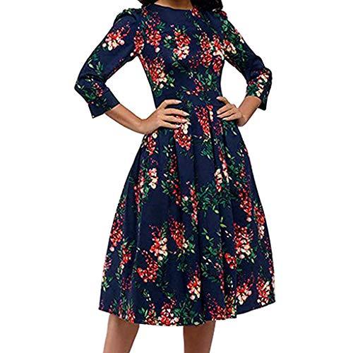 - Women Plus Size Dress GREFER Vintage Women's Floral Print Evening Party Dress Elegent A-line Dresses Navy