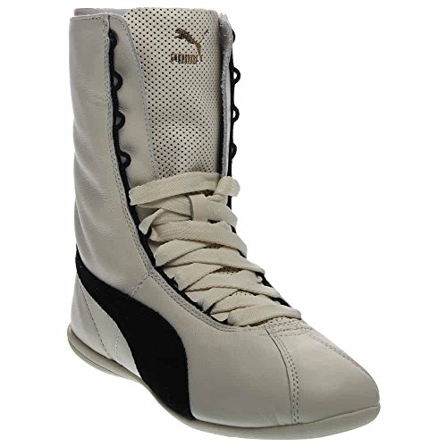 (PUMA Women's Eskiva Hi Whisper White/Black High-Top Leather Cross Trainer Shoe - 9.5M)