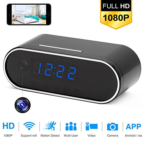 Wi-Fi Alarm Clock Camera, TOTUOKEY 1080P Wireless Security Camera with Motion Detection Night