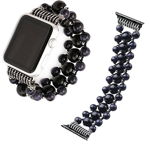 GOKE watch accessories for Apple Watch 42mm Replacement Band, Fashionable Black Beaded Agate Strap Replacement iWatch Strap Women for Apple iWatch Series 3 2 1 All Version (Black agate blue 42mm)