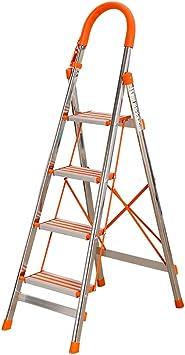 Escaleras Escalera plegable de aluminio de 4 pasos, escalera de tijera, extensión extensible, patas antideslizantes 丨 Empuñadura de goma 丨 Fácil de almacenar Diseño plegable - Ideal for el hogar/coc: Amazon.es: Bricolaje