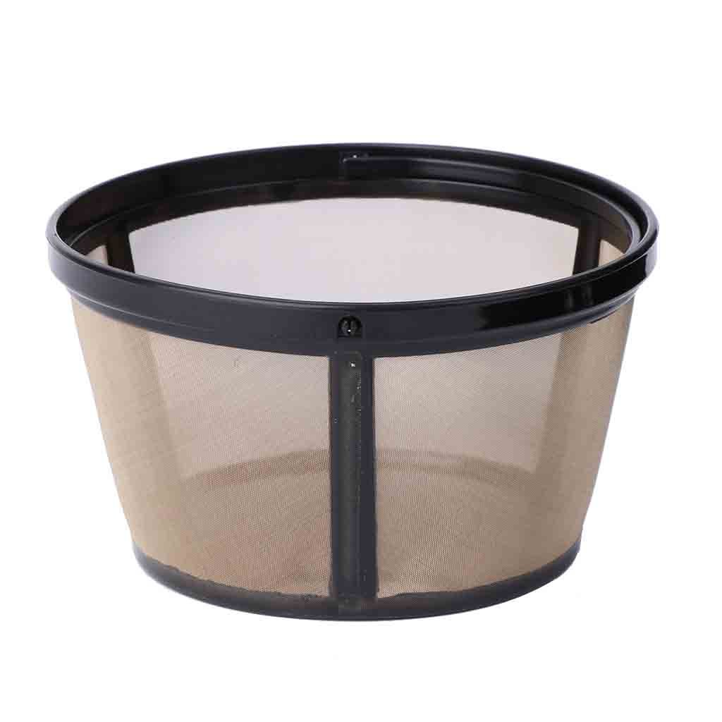 Tebatu Reusable 10-12 Cup Coffee Filter Basket-Style Permanent Metal Mesh Tool BPA Free Black+Gold 62mm/2.44