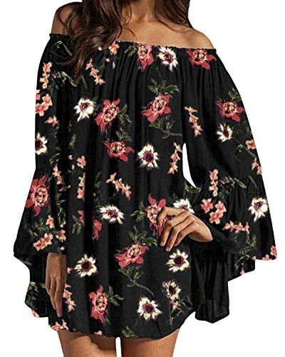 (ZANZEA Women's Sexy Off Shoulder Floral Print Chiffon Ruffle Sleeve Blouse Mini Dress Y2-Black XX-Large (fits Like US 16))