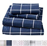 California King Bed Measurements Great Bay Home Extra Soft Windowpane 100% Turkish Cotton Flannel Sheet Set. Warm, Cozy, Lightweight, Luxury Winter Bed Sheets. Belle Collection (California King, Navy/White)