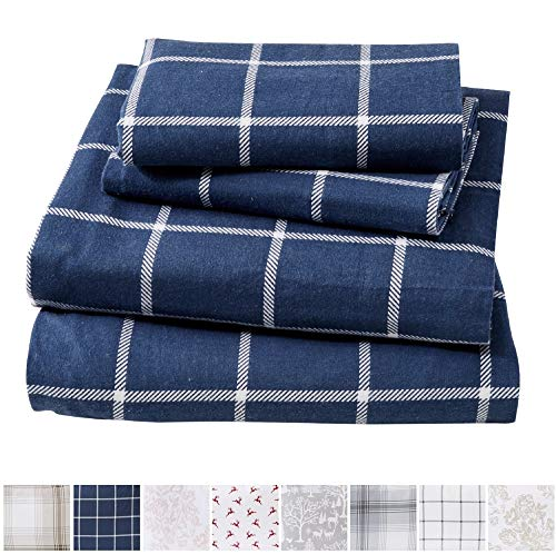Price comparison product image Great Bay Home Extra Soft Windowpane 100% Turkish Cotton Flannel Sheet Set. Warm, Cozy, Lightweight, Luxury Winter Bed Sheets. Belle Collection (Queen, Navy/White)