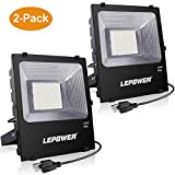 LEPOWER New Craft 2 Pack 150W LED Flood Light, 11000lm Super Bright Work Lights with Plug, 6500K White Light, IP66 Waterproof Outdoor Floodlights Fixtures for Garage, Playground, Basketball Court,Yard